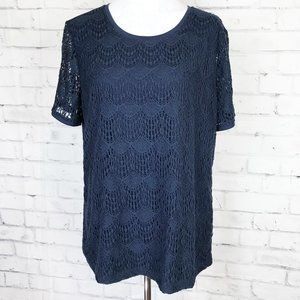 CHR & BANKS Lace Layered Blue Top